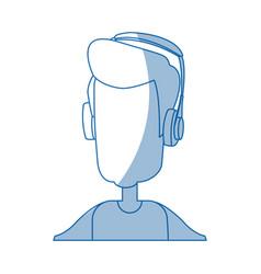 Man character wearing headphones device technology vector