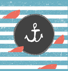 Marine background blue lines pattern red fish vector