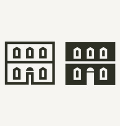 minimal historical building facade outline and vector image