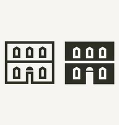 Minimal historical building facade outline vector