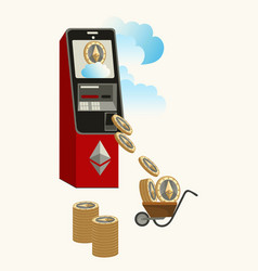 mining ether cryptocoins from atm poster vector image