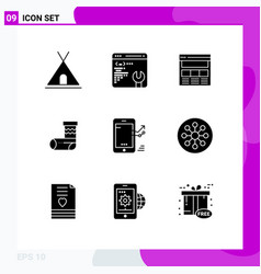 Modern set 9 solid glyphs and symbols such as vector