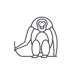 monkey line icon concept monkey linear vector image