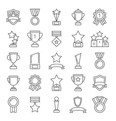 Mono line pictures set of cups and trophies vector