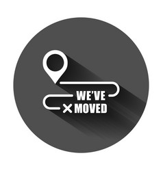 Move location icon in flat style pin gps on black vector