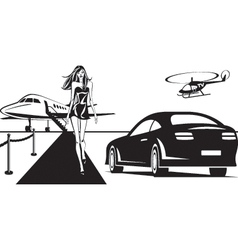 Movie star is traveling by plane vector image vector image