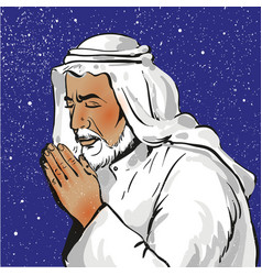 muslim praying in pop art vector image