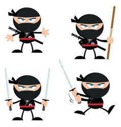 ninja warrior with weapons flat design collection vector image