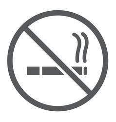 no smoking glyph icon forbidden and stop no vector image