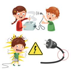 Of kids electric shock vector