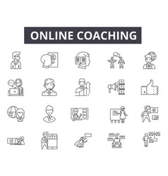 online coaching line icons for web and mobile vector image