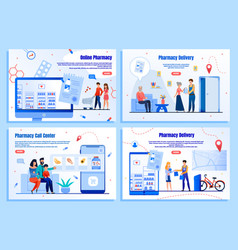 online drugstore services flat web banners vector image
