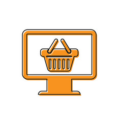 Orange computer monitor with shopping basket icon vector