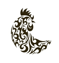 ornamental rooster - symbol new year 2017 vector image