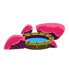 Pink and purple rocks around small well bonsai vector