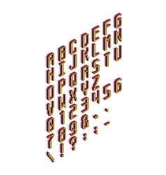 pixel cubic isometric vertical latin font letters vector image