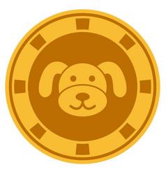 Puppy casino chip flat icon vector