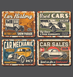 rare vintage cars and vehicles rusty metal plates vector image