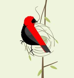 Red bishop making a nest vector