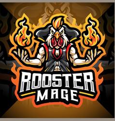Rooster mage esport mascot logo design vector