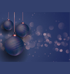 rose gold and blue christmas baubles vector image