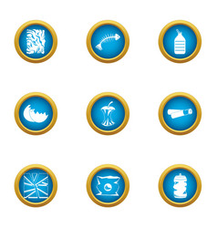 Rubbish heap icons set flat style vector