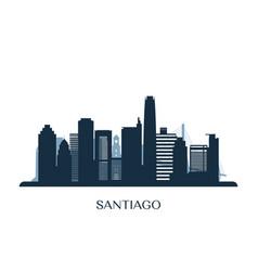 santiago skyline monochrome silhouette vector image