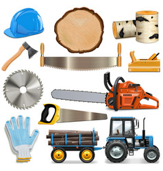 Sawmill icons vector