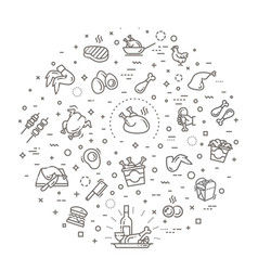 Set chicken meat related line icons vector