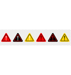 Set of attention caution danger sign vector