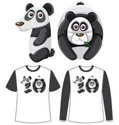 Set two types shirt with panda in number vector