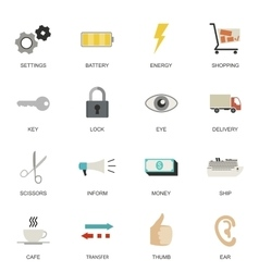 set universal flat icons vector image