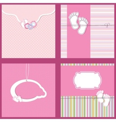 Set Vintage baby girl arrival announcement card vector