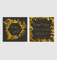 set wedding invitations on a dark black gray vector image