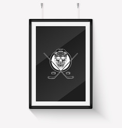 sketch color skull with dark hockey vector image