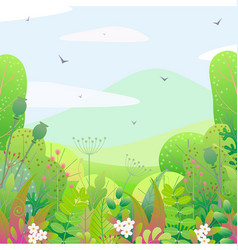 square floral border and spring landscape vector image