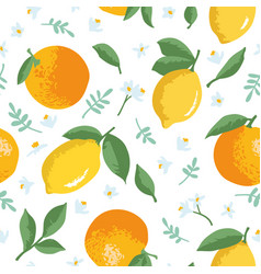 Summer pattern with lemons oranges flowers and vector