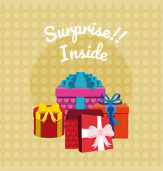 Suprise inside gift boxes vector