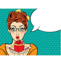 Surprised pop art woman that holds a gift in their vector image