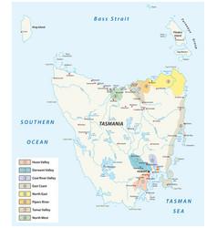 tasmania wine regions and wineyards map vector image