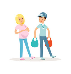 teen boy helping pregnant woman with shopping vector image