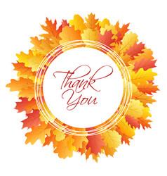 thank you card circle frame of oak leaf vector image