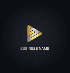 Triangle play shape company gold logo vector