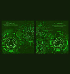 two technology posters with interface patterns vector image