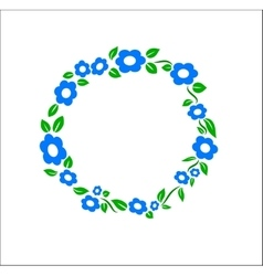 Vintage blue Flower ring frame decoration vector