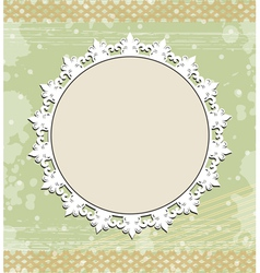 Vintage round frame on floral background vector image