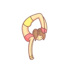Woman Doing Advanced Hand Stand Yoga Pose vector