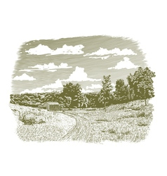 Woodcut Goodnight Farm vector image