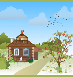 wooden village house in autumn vector image