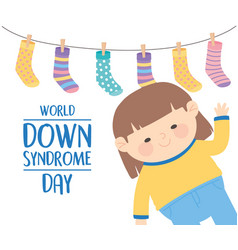 world down syndrome day waving hand little girl vector image